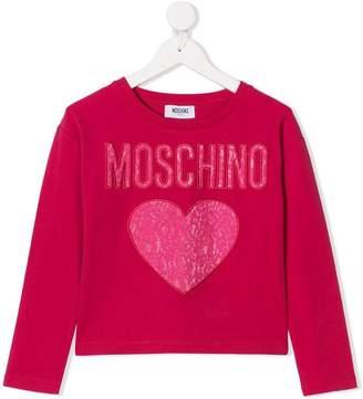 Moschino Kids lace logo patch sweatshirt