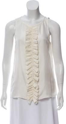 Tibi Ruffle Accented Silk Top