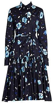 Marni Women's Floral Ruched Skirt Shirtdress