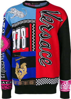 Versace Wool Pullover With Written Print