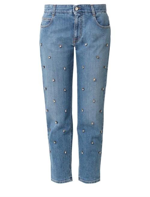 Stella McCartney Crystal-embellished boyfriend jeans