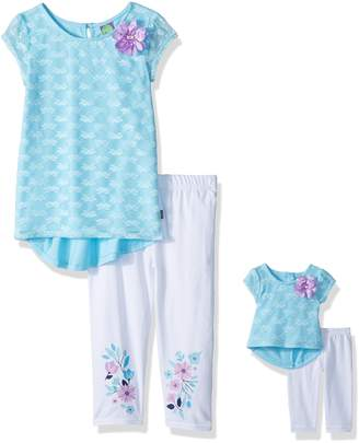 Dollie & Me Big Girls' Hi-Lo Tunic with Legging and Matching Doll Outfit