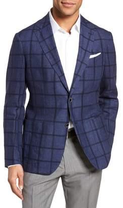 Blend of America Culturata Trim Fit Windowpane Linen Sport Coat