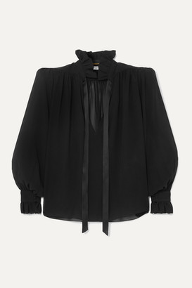 Saint Laurent Pussy-bow Silk-georgette Blouse - Black