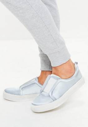Missguided Gray Satin Slip On Sneakers