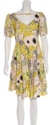 Giamba Printed Mini Dress Yellow Printed Mini Dress