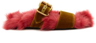 Shearling-lined velvet slides