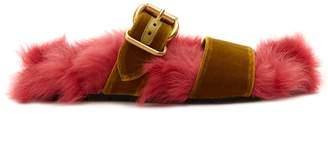 Prada Shearling-lined velvet slides