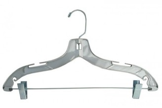 """NAHANCO Plastic Suit Hangers - Heavy Weight - 17"""" Silver Finish - Home Use"""