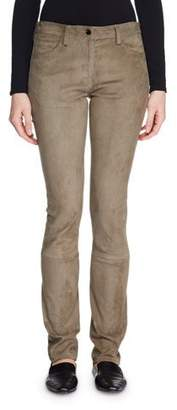 The Row Landly Mid-Rise Skinny-Leg Suede Pants