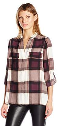 Jones New York Women's Plaid Enevelope Back Top $73.47 thestylecure.com
