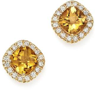 Bloomingdale's Citrine Cushion Cut and Diamond Stud Earrings in 14K Yellow Gold - 100% Exclusive