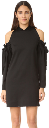 DKNY Cold Shoulder Dress with Raw Edges $498 thestylecure.com