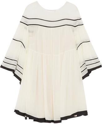 Chloé - Striped Silk-crepon Mini Dress - Cream
