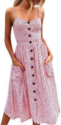 GOTD Women Sexy Strap Spaghetti Buttons Off Shoulder Princess Dress Sleeveless Sundress Beach Summer (M, )