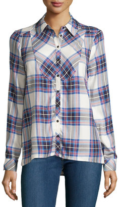 kensie Plaid Long-Sleeve Blouse, Ivory/Multi $44.25 thestylecure.com