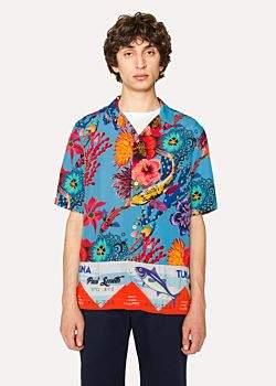 Paul Smith Men's Tailored-Fit Blue 'Ocean' Print Short-Sleeve Shirt
