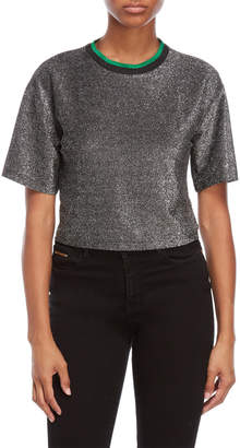 On Twelfth Cropped Sparkle Knit Tee