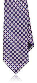 Piattelli MEN'S FLORAL MEDALLION SILK FOULARD NECKTIE - BLUE