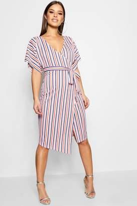 boohoo Petite Crepe Stripe Wrap Midi Dress