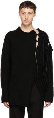 Yohji Yamamoto Black Leather String Crewneck Sweater