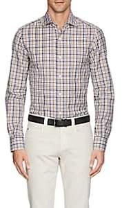 Isaia Men's Checked Cotton Poplin Shirt - Tan Pat.