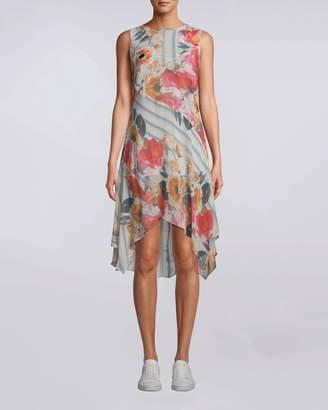 Nicole Miller Embroidered Floral Stripe Handkerchief Dress
