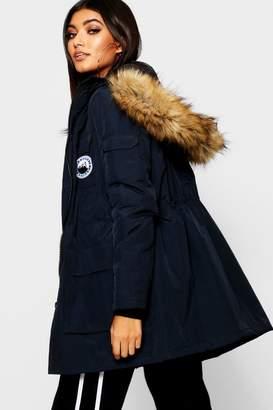boohoo Luxe Faux Fur Trim Sporty Parka