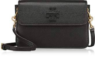 Tory Burch McGraw Black Pebbled Leather Crossbody Bag