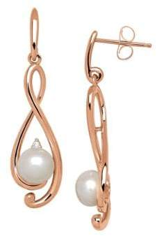 Lord & Taylor 6MM Freshwater Pearl and Diamond 14K Rose Gold Drop Earrings