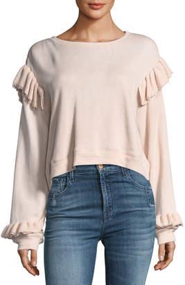 LoveShackFancy Round-Neck Long-Sleeve Sweatshirt w/ Ruffled Trim