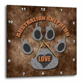 Breed 3dRose Australian Shepherd Love Dog in Gray and Brown, Wall Clock, 10 by 10-inch