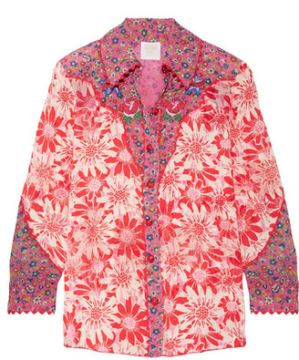 Anna Sui - Embroidered Printed Silk-crepon Shirt - Pink