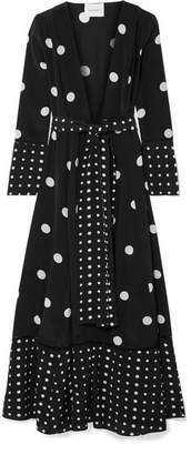 Leone we are Polka-dot Silk Crepe De Chine Robe - Black