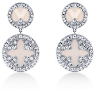 Treasure Empress 18ct White Gold Mother of Pearl and 0.90cttw Diamond Drop Earrings