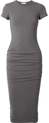 James Perse Draped Stretch-cotton Jersey Midi Dress