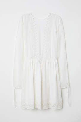 H&M Chiffon Dress with Lace - White
