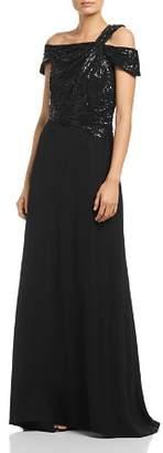 Tadashi Shoji One-Shoulder Sequin Bodice Gown