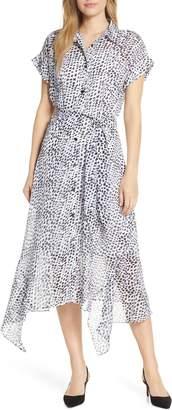 Julia Jordan Animal Print Handkerchief Hem Midi Dress