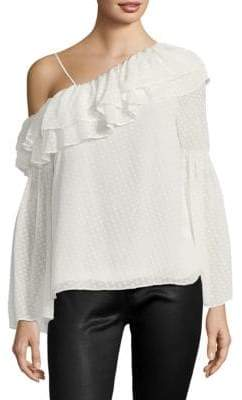 Parker Lima Swiss Dot One-Shoulder Blouse