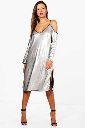 boohoo Sequin Cold Shoulder Midi Dress