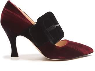 ATTICO Elsa buckle-embellished velvet pumps