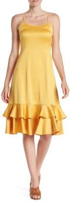 Line & Dot Sasha Tiered Ruffle Hem Satin Dress