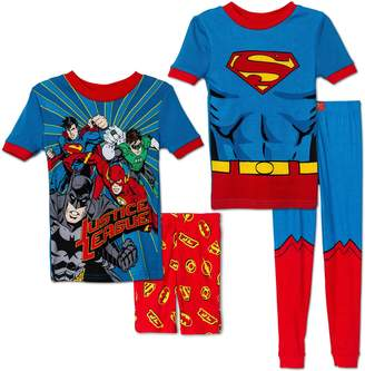 Komar Kids Boys' 4 Piece Pajamas Sleepwear Set with Shorts and Pants (, Justice League Superman)