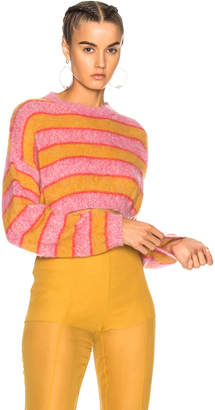 Alberta Ferretti Striped Cropped Crewneck Sweater