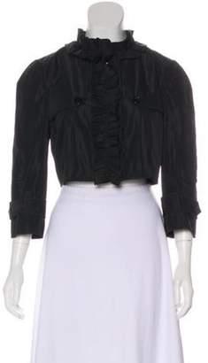 Dolce & Gabbana Cropped Ruffle Jacket Black Cropped Ruffle Jacket