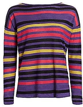 Saks Fifth Avenue Women's COLLECTION Silk Linen Stripe Pullover
