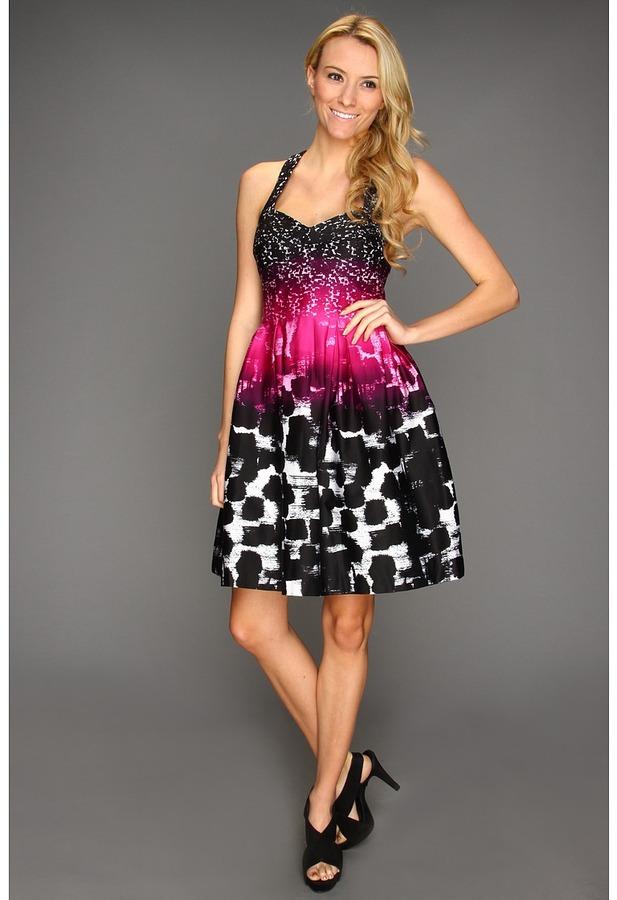 Calvin Klein Colorful Brushstrokes A-line Dress (Zinnia) - Apparel