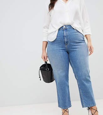 Asos DESIGN Curve Farleigh high waist straight leg jeans in stone wash blue