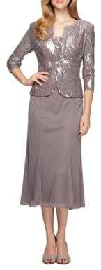 Alex Evenings Two-Piece Sequined Popover Gown and Jacket